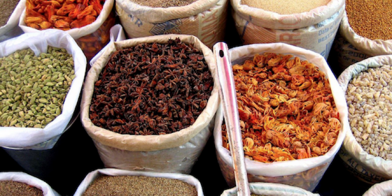 spices in baskets that help keep pests away from your home