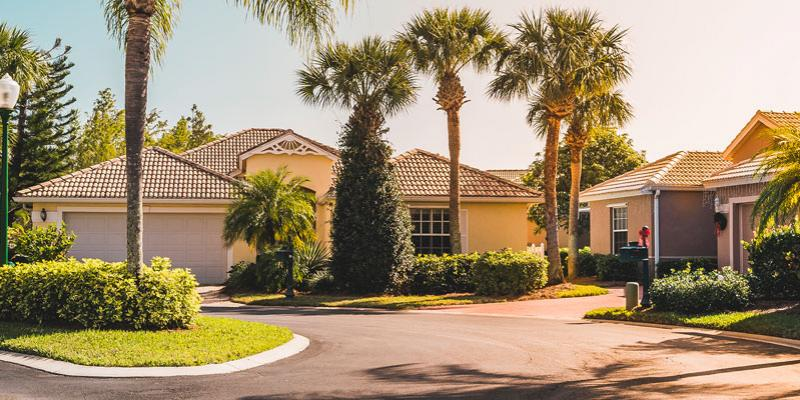 Home in a Florida neighborhood surrounded by green palm trees, and healthy grass.